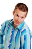Young Man In Blue Striped Shirt stock photography