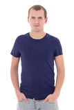 Young man in blue t-shirt isolated on white. Background Royalty Free Stock Photography