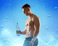 Young man or bodybuilder with bottle of water stock images
