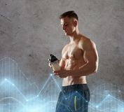Young man or bodybuilder with protein shake bottle. Sport, bodybuilding, fitness and people concept - young man or bodybuilder with protein shake bottle and bare stock images