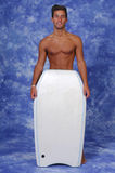 Young man with a boogie board. Attractive young man with a boogie board (studio photo stock photos