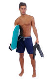 Young man with a boogie board Stock Photo