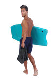 Young man with a boogie board Royalty Free Stock Photography