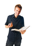 Young man with book on white Royalty Free Stock Images