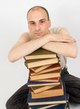 The young man with books Royalty Free Stock Photo