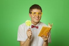 Young man bookworm reading Stock Photo
