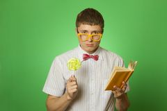 Young man bookworm reading Stock Photos