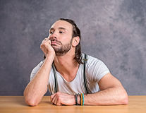Young man is bored Stock Photography