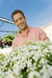 Young Man At Botanical Garden Stock Photo