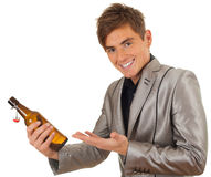 Young man with bottle of beer Royalty Free Stock Photo