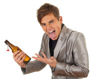 Young man with bottle of beer Stock Photos
