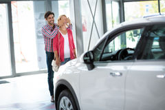 Young man bought his wife a new car Stock Images