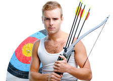 Young man with a bow Royalty Free Stock Image