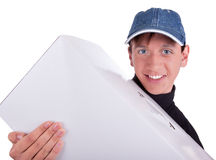 Young man with box Royalty Free Stock Images