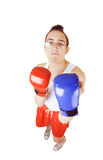 Young man in boxer gloves Royalty Free Stock Photography