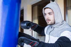 Young man boxer workout outdoor Royalty Free Stock Photos