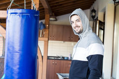 Young man boxer workout outdoor Royalty Free Stock Image