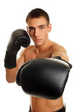 Young man with boxers. Portrait of young athletic man without shirt with boxers Royalty Free Stock Photo