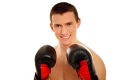 Young man with boxers Stock Photo