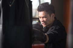 Young man boxing, exercise in the Gym stock photo