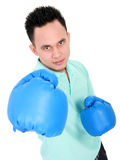 Young man with boxing glove Stock Photos
