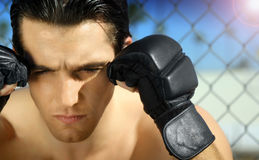Young Man in Boxing Gloves. Close-up portrait of young man with boxing gloves Royalty Free Stock Images