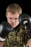 Young man in boxing gloves Stock Image