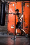 Young man boxing workout Stock Images