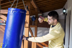 Young man boxing workout outdoor Stock Images