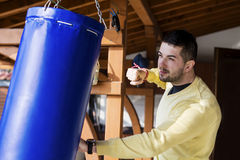 Young man boxing workout outdoor Stock Photography