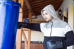Young man boxing workout outdoor Royalty Free Stock Image