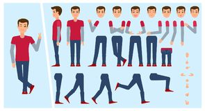 Young man, boy, college student creation set. Young man, boy, student creation set with choice of poses, gestures, emotions, flat cartoon vector illustration Stock Photography