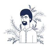 Young man with branch with leaf character. Vector illustration design royalty free illustration