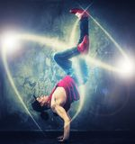 Young man break-dancer Royalty Free Stock Images