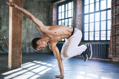Young man break dancing Stock Image