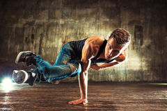 Young man break dancing Royalty Free Stock Images