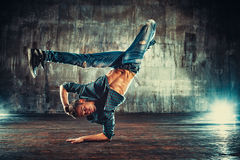 Young man break dancing Royalty Free Stock Photos