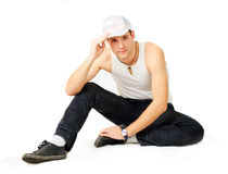 Young man breakdancer Stock Photo