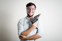 Young man bricolage working Royalty Free Stock Images