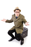 Young man with briefcase isolated on white Royalty Free Stock Photography