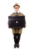 Young man with briefcase isolated on white Stock Photo