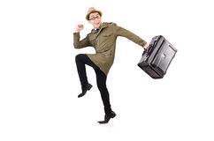 Young man with briefcase isolated on white Royalty Free Stock Photos