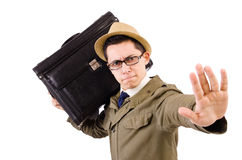 Young man with briefcase isolated on white Stock Images