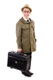 Young man with briefcase isolated on white Stock Photography