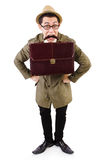 Young man with briefcase isolated on white Royalty Free Stock Image