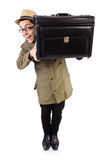 Young man with briefcase isolated on white Stock Photos