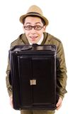Young man with briefcase isolated on the white Stock Image