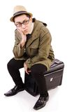 Young man with briefcase isolated on the white Stock Photo