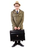 Young man with briefcase isolated on the white Stock Photos