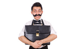 Young man with briefcase isolated on white Royalty Free Stock Photo
